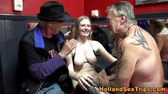 Fingered euro whore fucks the men who payed her