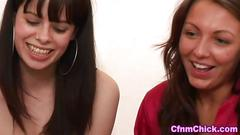 British fetish babes mock and wank the dudes small dick