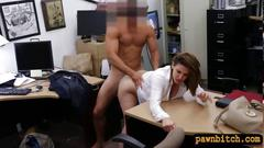 Huge boobs business lady pawns her pussy for money