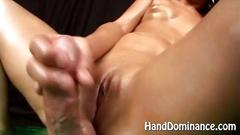 Cock milking amateur femdom milf wanks the dick