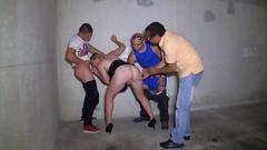Gang bang posse fucking the slutty babe