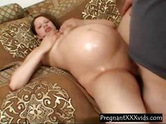 8 month pregnant milf fucked and she sucks