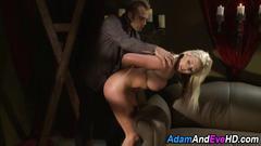 Cute blonde slave takes a dick