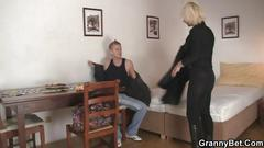 Nice blonde woman pleases her younger neighbor