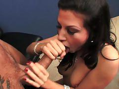 Hot brunette in stockings roxy deville gets banged