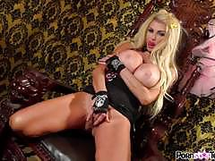 Steamy pussy rub of blonde stripping taylor wane