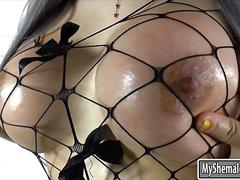 Busty ts julie t masturbates her dick and toying her asshole