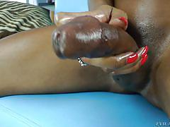 Small breasted ebony shemale shoots her spunk everywhere