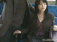 Hidden handjob on the bus