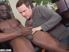 Black bottom worships huge black cock