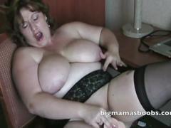 Big curvy secretary fucks her soaking pussy