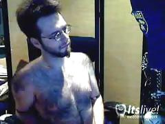Hairy jack plays with his big cock on the webcam