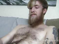 Hairy hipster strips and wanks hard