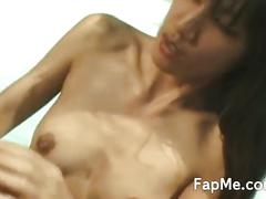 Skinny asian girl jerks and rides cock outside