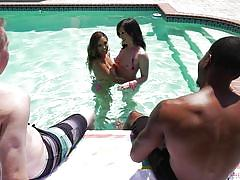 Hot foursome in the water @ anal couples swap