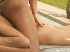Horny asian belles enjoy a sensual lesbian massage