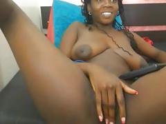 Sexy black girl, huge dark nipples - fingers pussy