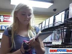 Chubby teen girl in adult store gloryhole