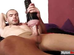 Steven cums in his kinky pantyhose