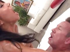 Oiled hot asa akira gets her pussy fisted and banged with big dick