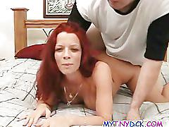 Busy redhead gets banged in hotel room