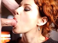 Camille crimson gives sensual eye contact blowjob