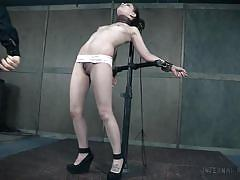bdsm, babe, piercing, vibrator, tied up, crucified, submission, device bondage, infernal restraints, bobbi dylan