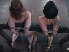threesome, bdsm, babe, redhead, whipping, punishment, tickling, bondage device, nipple clamps, rope bondage, hard tied, kel bowie, mia torro