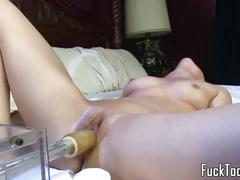 dildo, pussy, amateur, closeup, busty, vibrator, toy, bigtits, masturbation, solo, pov, sextoy, insertion, machine, spreading