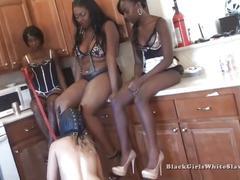 3 black mistresses humiliate white slave