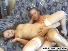 Amateur house anal and cum in mouth sex on couch.