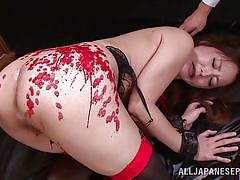 Hot wax all over her sexy body