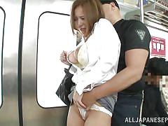 Busty japanese girl goes hardcore in public transport