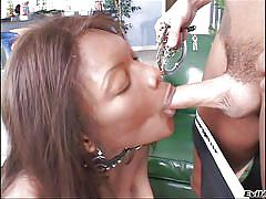 Black tranny slave is on her knees
