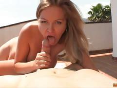 Hpt blonde babe stroking cock