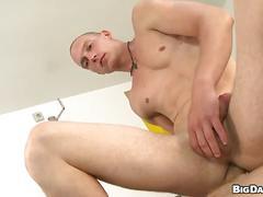 Amateur twink rides big cock bareback