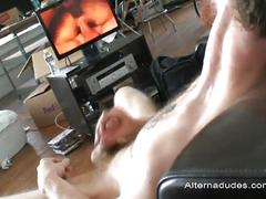 Tattooed stud justin fairbanks jerks his hard cock