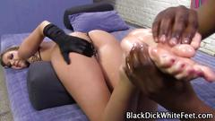 cumshot, handjob, interracial, bizarre, footjob, cum shot, fetish, oil, weird, gloves