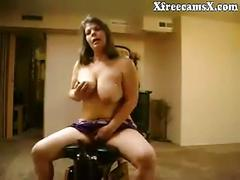 Mature with big tits first time riding dildo