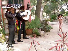 Whore sucking two mariachi