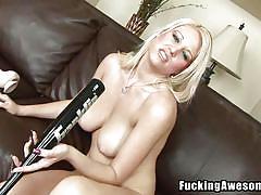 She puts a baseball bat into her cunt hole