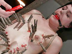 bdsm, babe, domination, black hair, dildo fuck, wax, laundry pliers, ball gag, sadistic rope, kink, katharine cane
