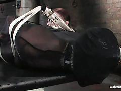 hanging, tied, sex slave, dildo fuck, water bdsm, water tank, nylon costume, water bondage, kink, vendetta