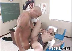 Fragile girl is on the teacher dick sucking it