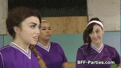 Soccer turns into a wild lesbian group fuck
