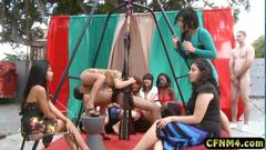 Crazy femdom girls playing with a bound slave