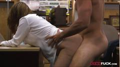 Foxy business lady screwed in a pawnshop