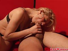 Sensual blonde drools over this stiff cock