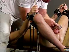 Oiled twink tied and toyed by horny dad