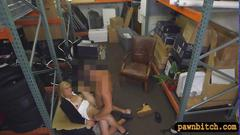 Hot blonde milf pounded in  a pawnshop storage room